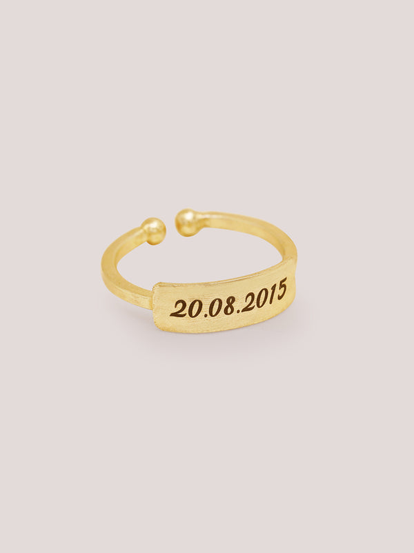 Italic Gold Personalised Ring
