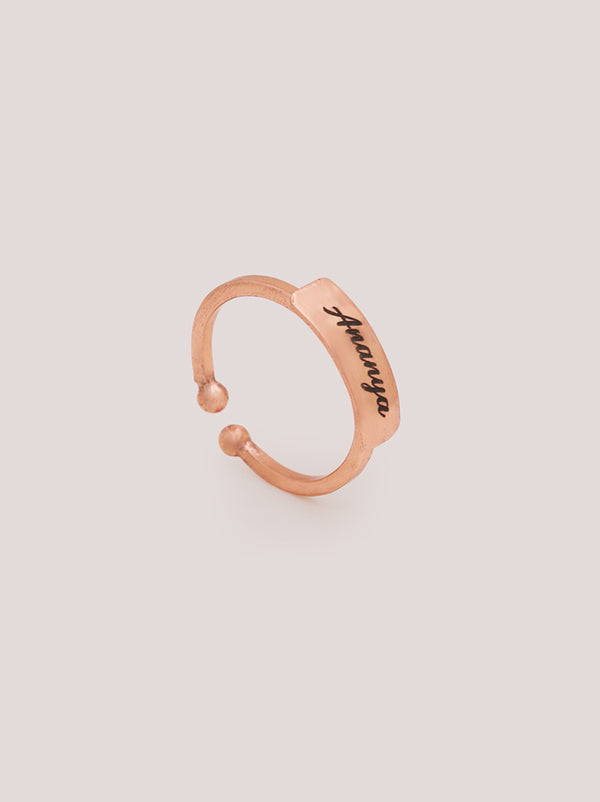 Italic Rose Gold Personalised Ring