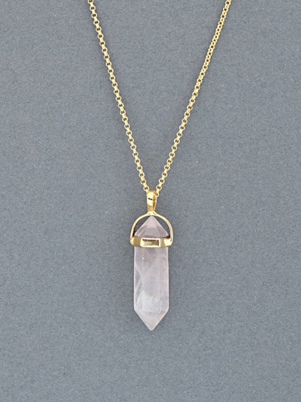 Tipsyfly Rose Quartz Pendant Necklace