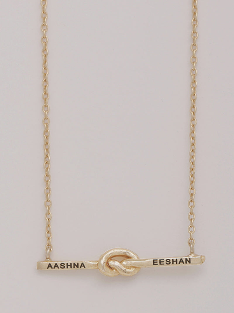 Gold Loveknot Personalised Necklace - Tipsyfly