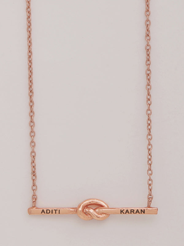 Rose Gold Loveknot Personalised Necklace - Tipsyfly