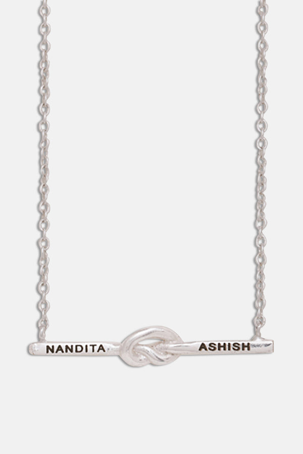 Silver Loveknot Personalised Necklace - Tipsyfly