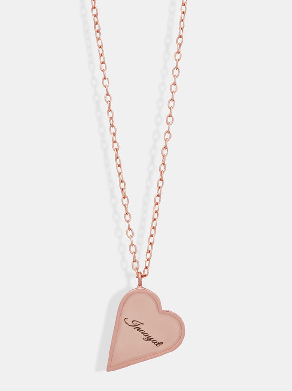 Personalised Rose Gold heart frame necklace - Tipsyfly