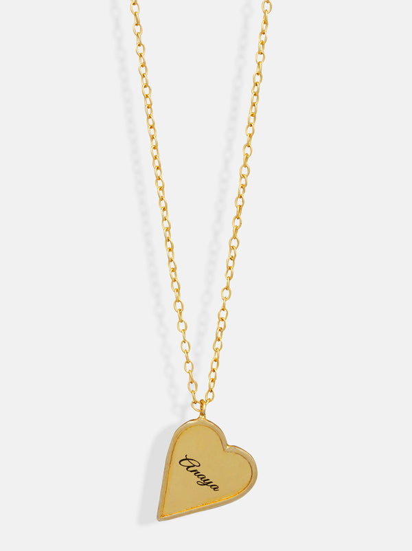 Personalised Gold Heart frame necklace - Tipsyfly