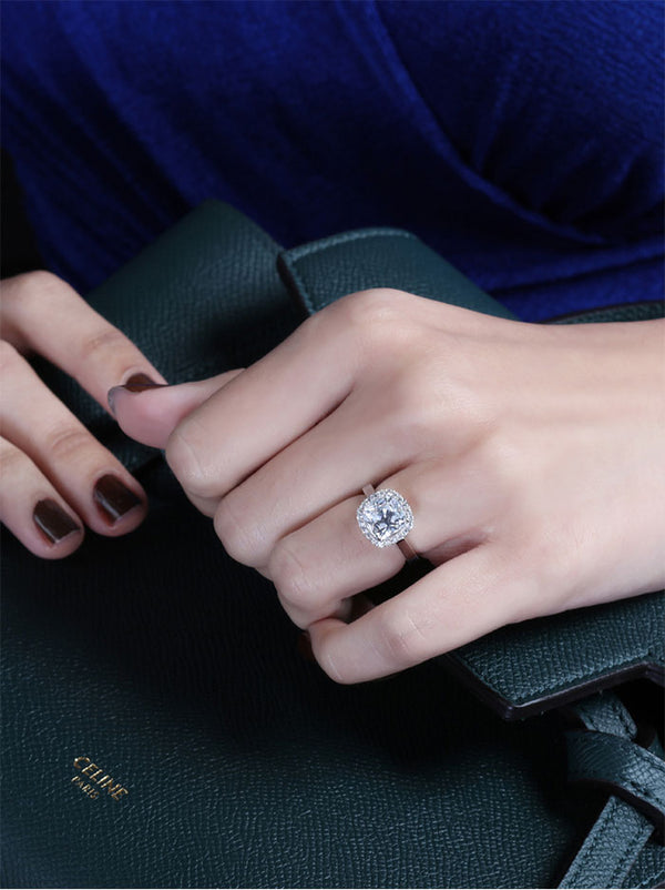 925 Silver Cushion Solitaire Ring