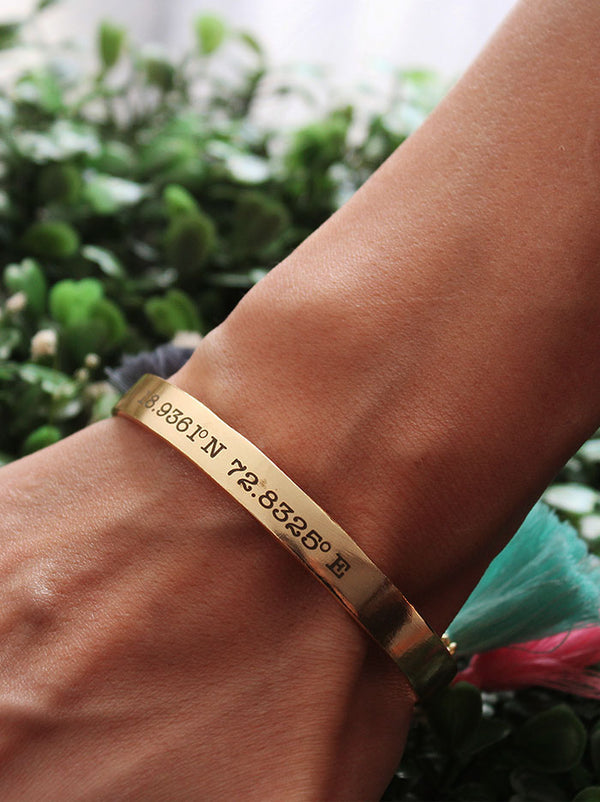 Gold Personalised Coordinates Cuff - Tipsyfly