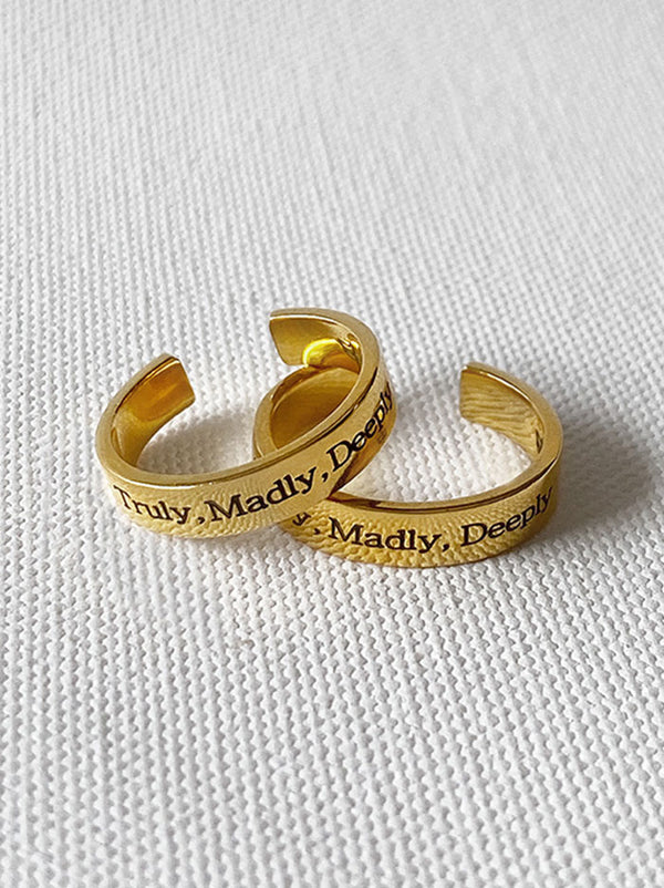 Personalised Couple's gold mantra rings - Tipsyfly