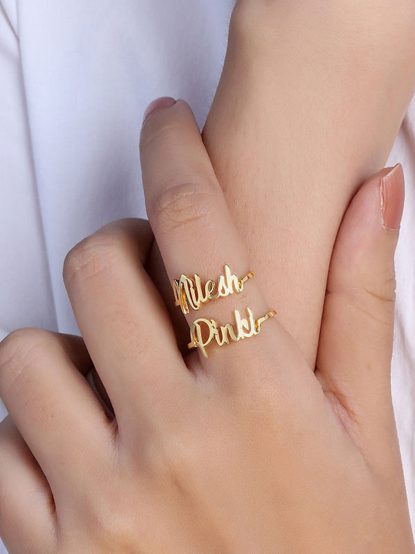 Gold Customised Dual name ring