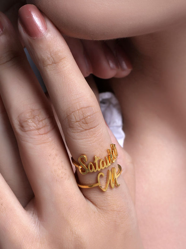 Gold Customised name and Initial Ring