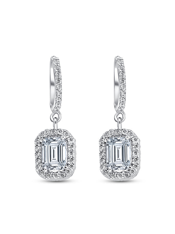 925 Silver Emerald cut Drops