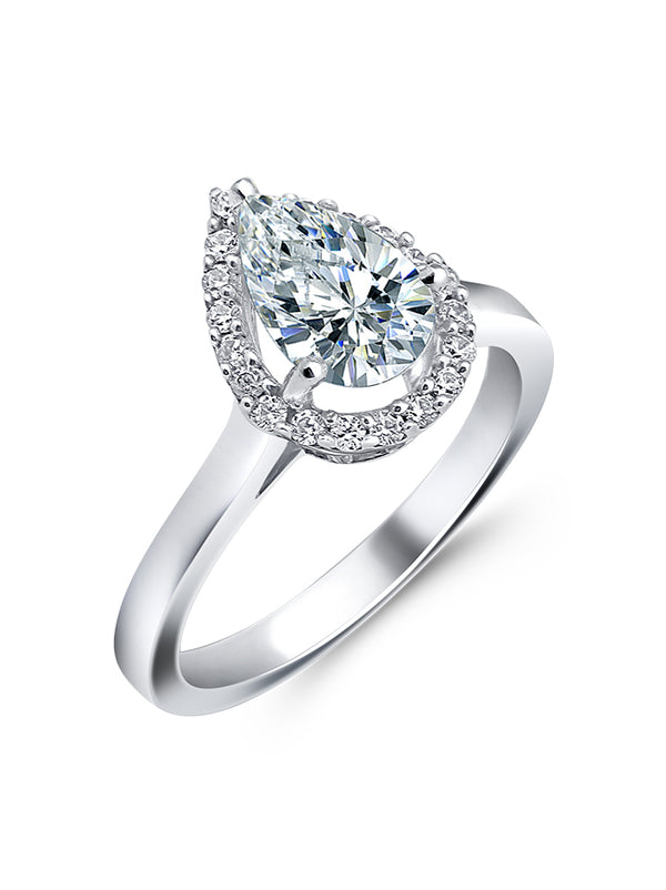 925 Silver Pear Solitaire Ring