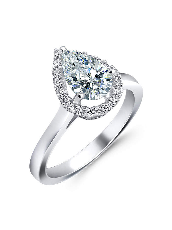 925 Silver Pear Solitaire Ring - Tipsyfly