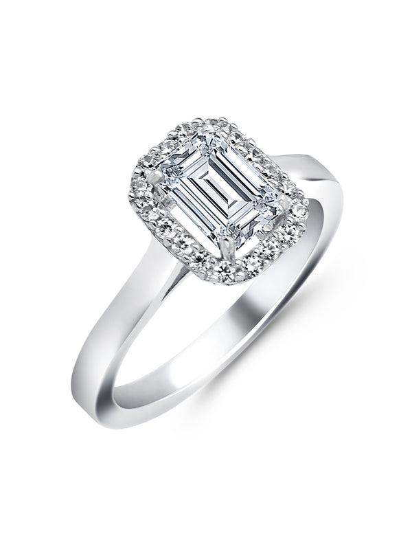 925 Silver Emerald cut Solitaire RIng