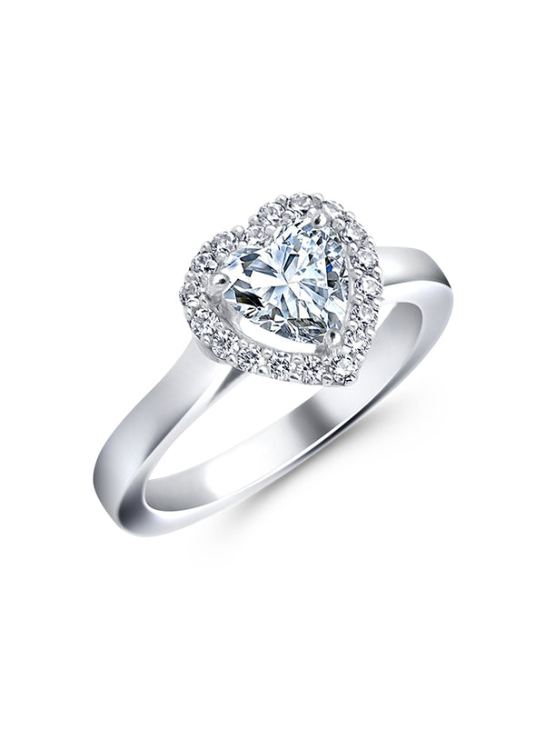 925 Silver Heart Solitaire RIng