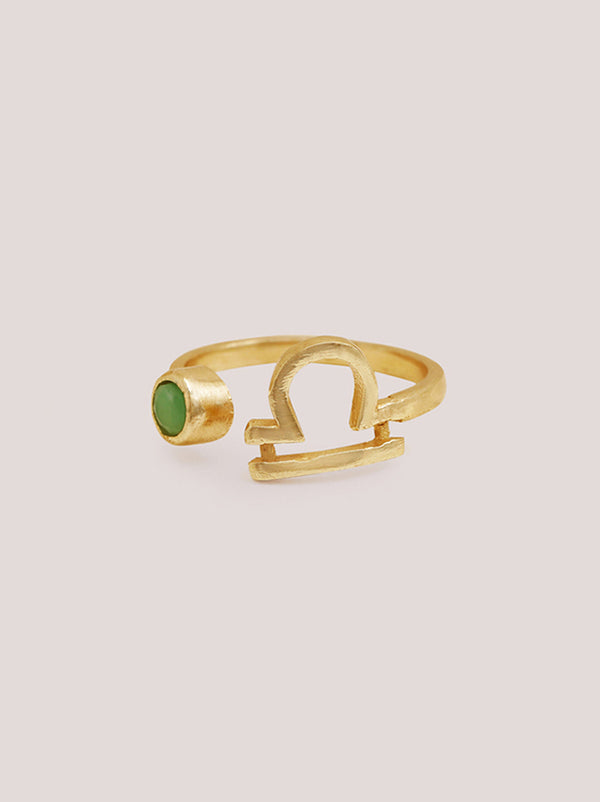 Libra Chrysolite Zodiac Ring