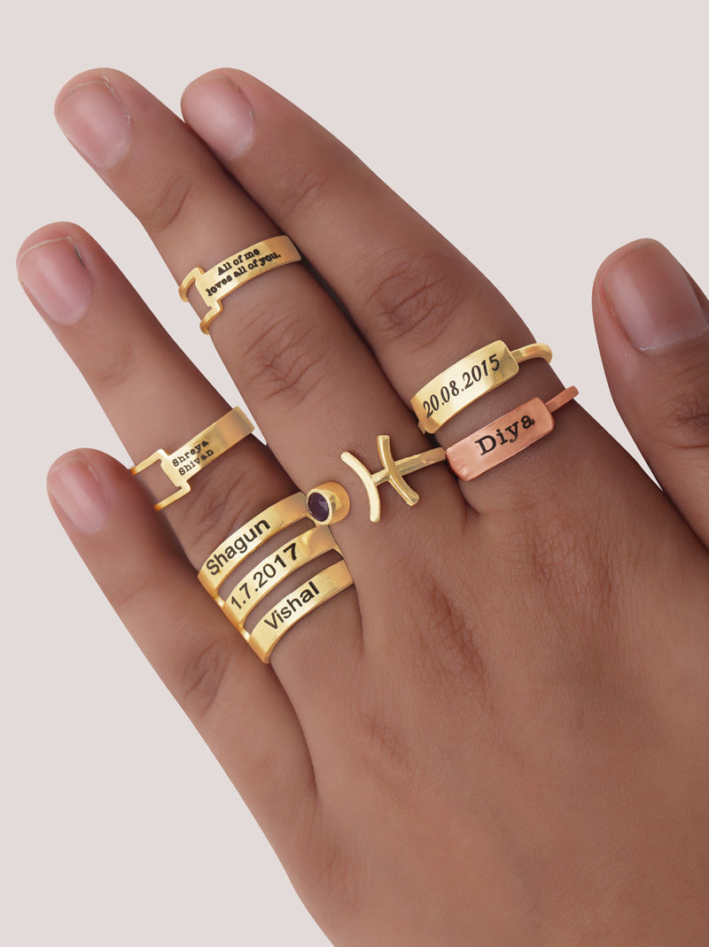 Tri Gold Personalised Ring - Tipsyfly