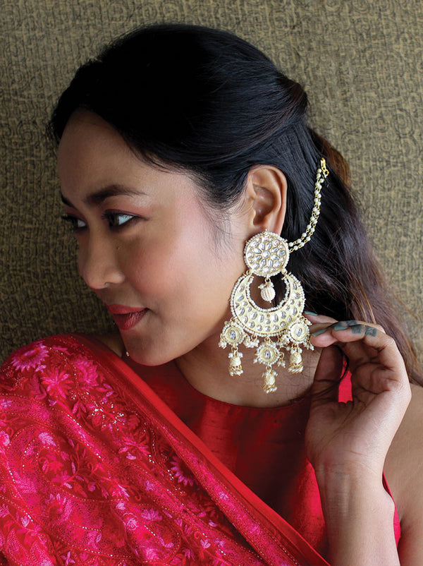 Ecru & Gold Chandbali Earrings - Tipsyfly