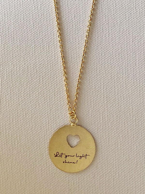 Personalised Circle heart cutout love note necklace - Tipsyfly
