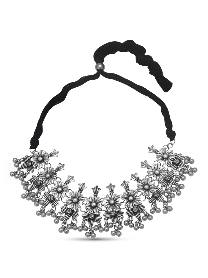 Floral oxidised silver necklace set