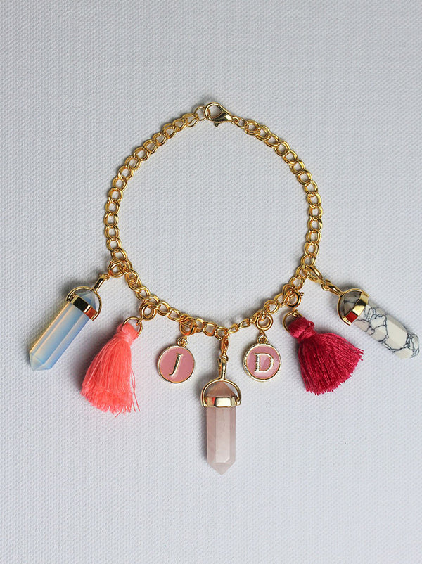 Personalised Charm Bracelet - Pink letters - Tipsyfly