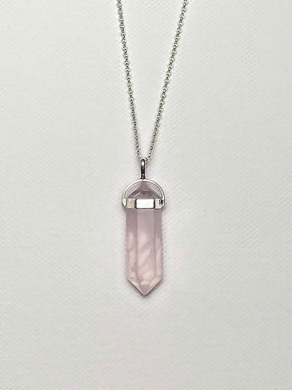 Tipsyfly Silver Rose Quartz Pendant Necklace