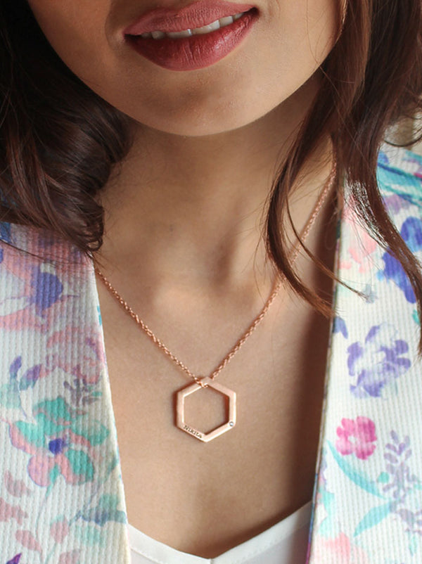 Rosegold Hexagon Necklace - Tipsyfly