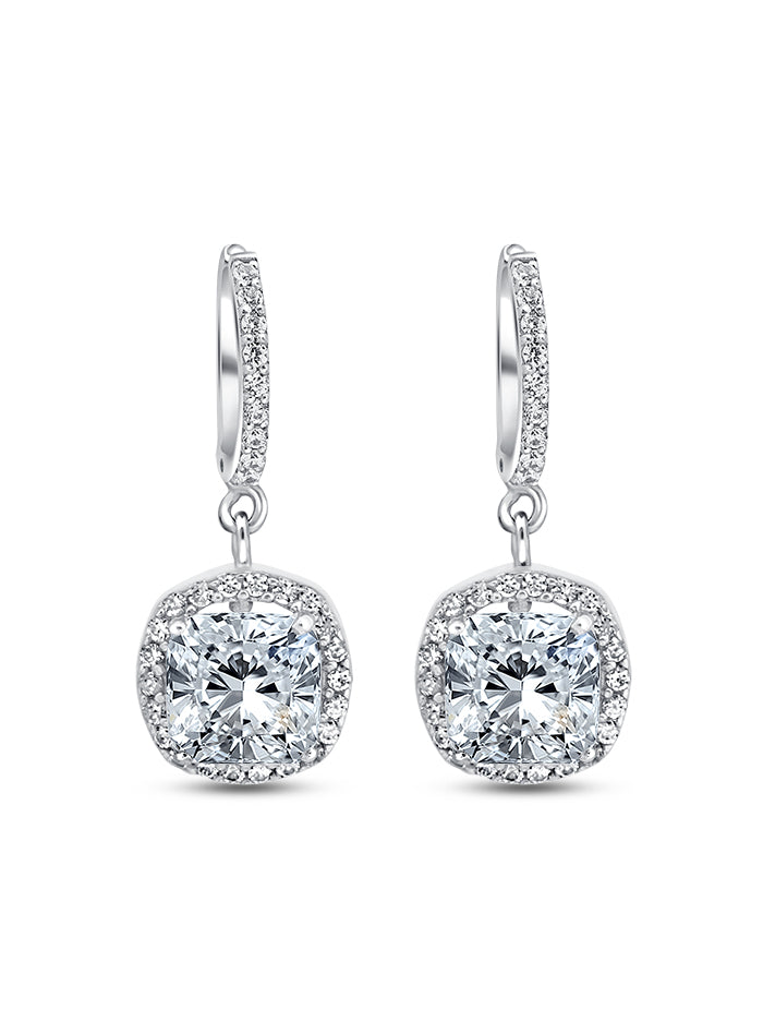 925 Silver Cushion cut Drops