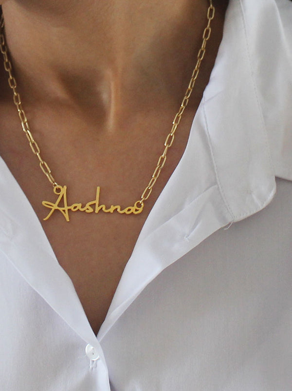 Customised Signature font name necklace - Tipsyfly