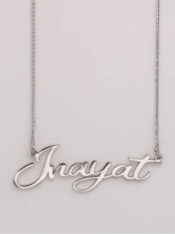 Silver Cursive Name Necklace - Tipsyfly