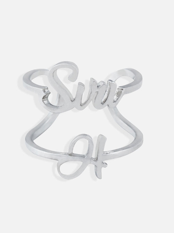 Silver Customised name and Initial Ring