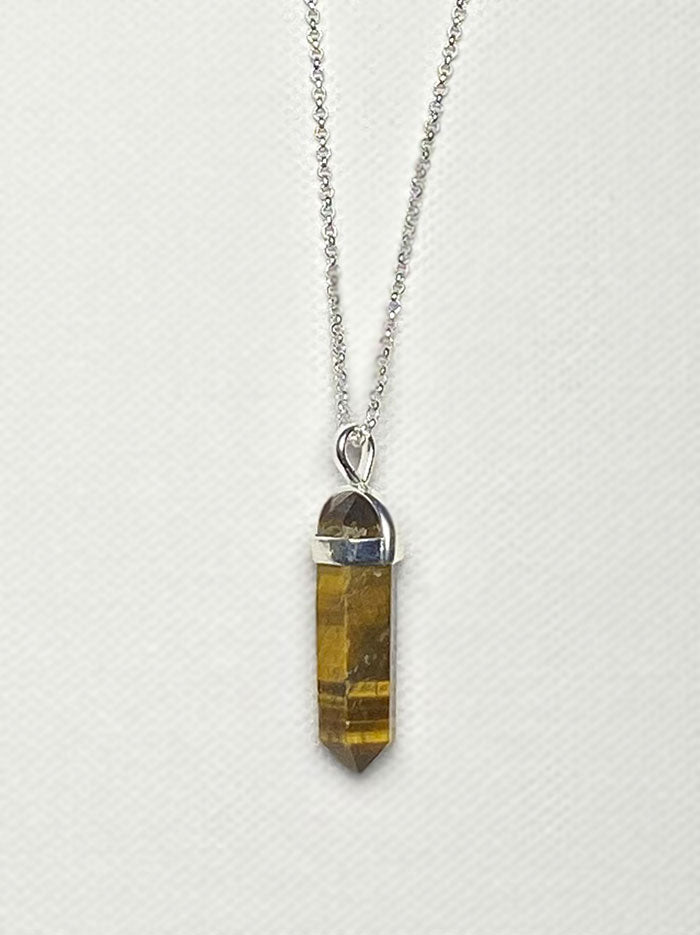 Tipsyfly Silver Tigers  Eye Pendant Necklace