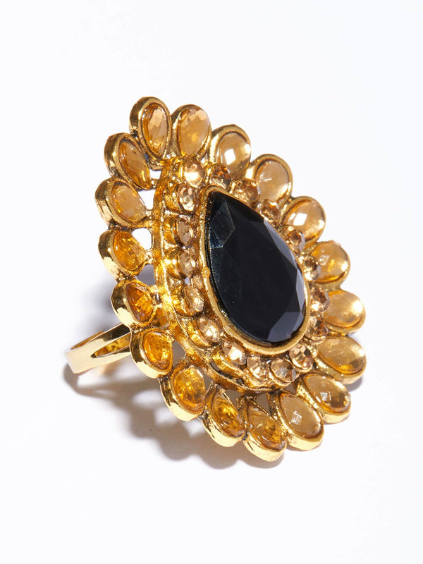 Tipsyfly Black Pear Ring