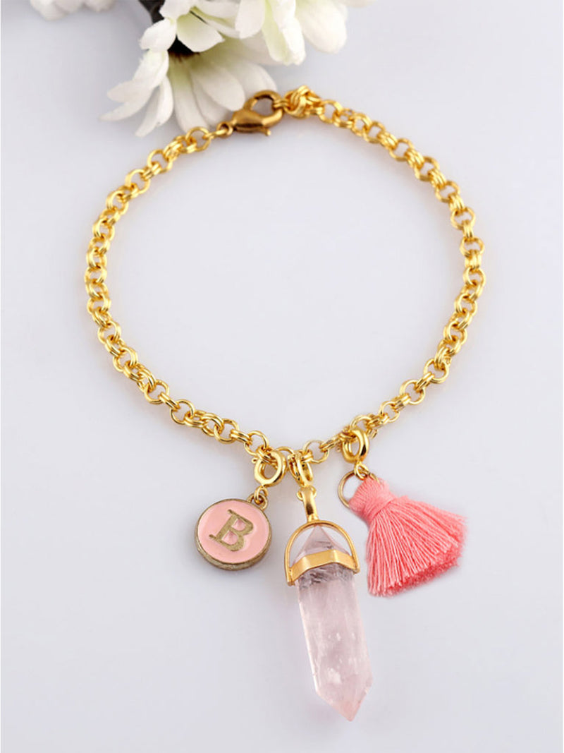 Personalised Charm Bracelet - Pink letters