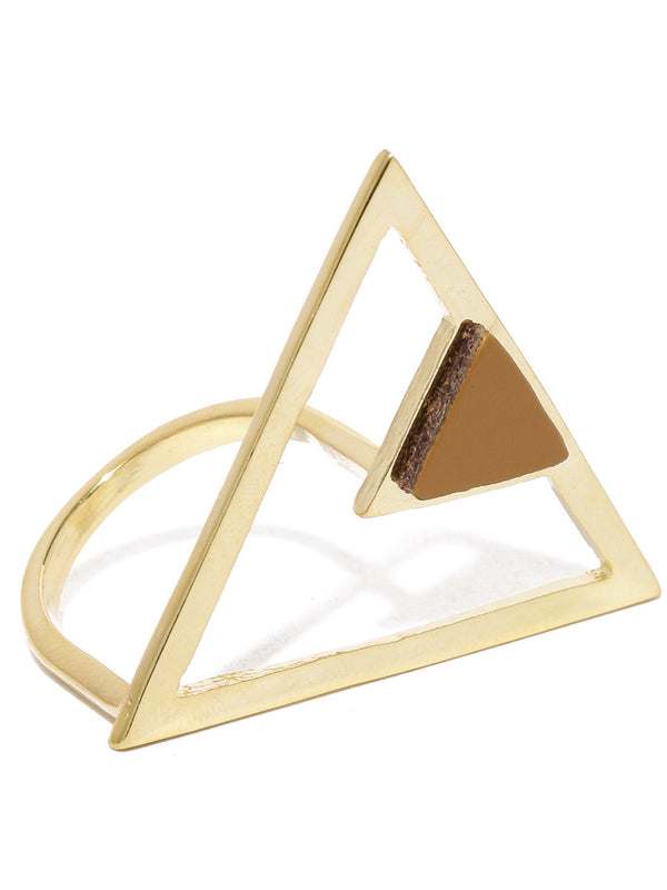 Tipsyfly Tan Triangle Cocktail Ring