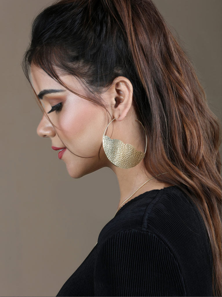 Tipsyfly Hammered Gold Hoops