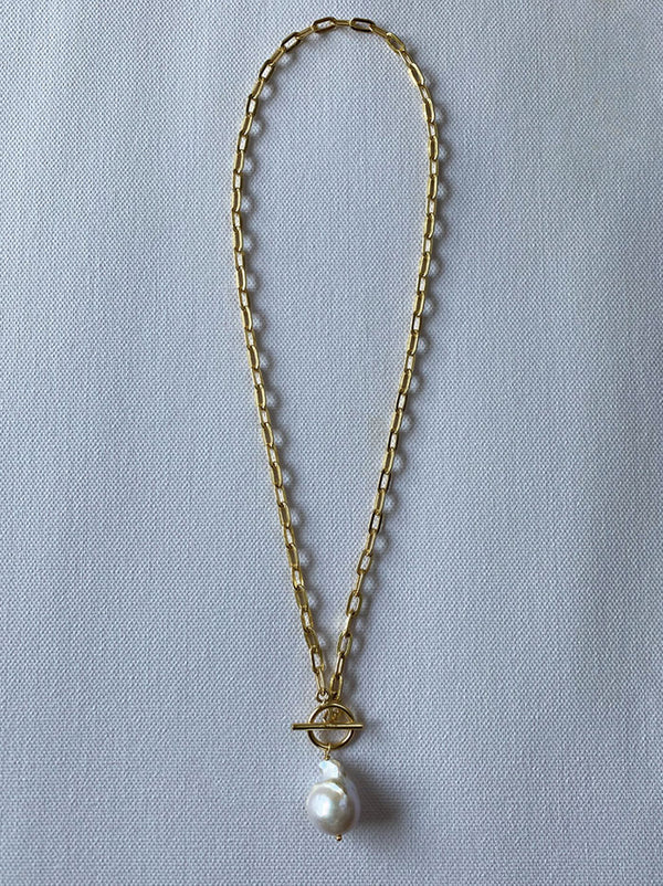 Pearl T-link chain necklace - Tipsyfly