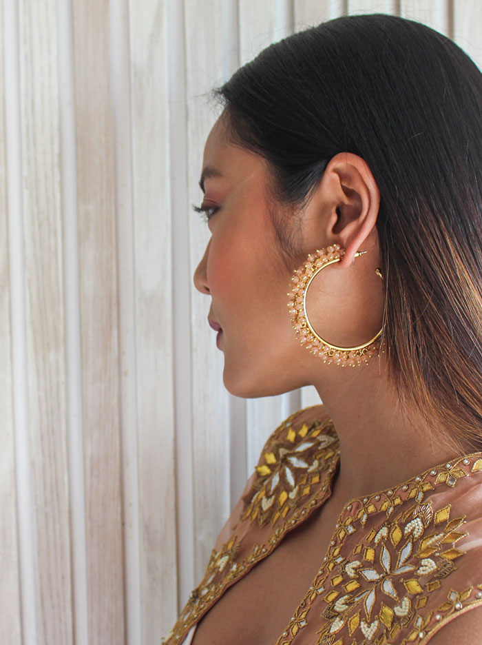 Cream beaded hoop earring - Tipsyfly