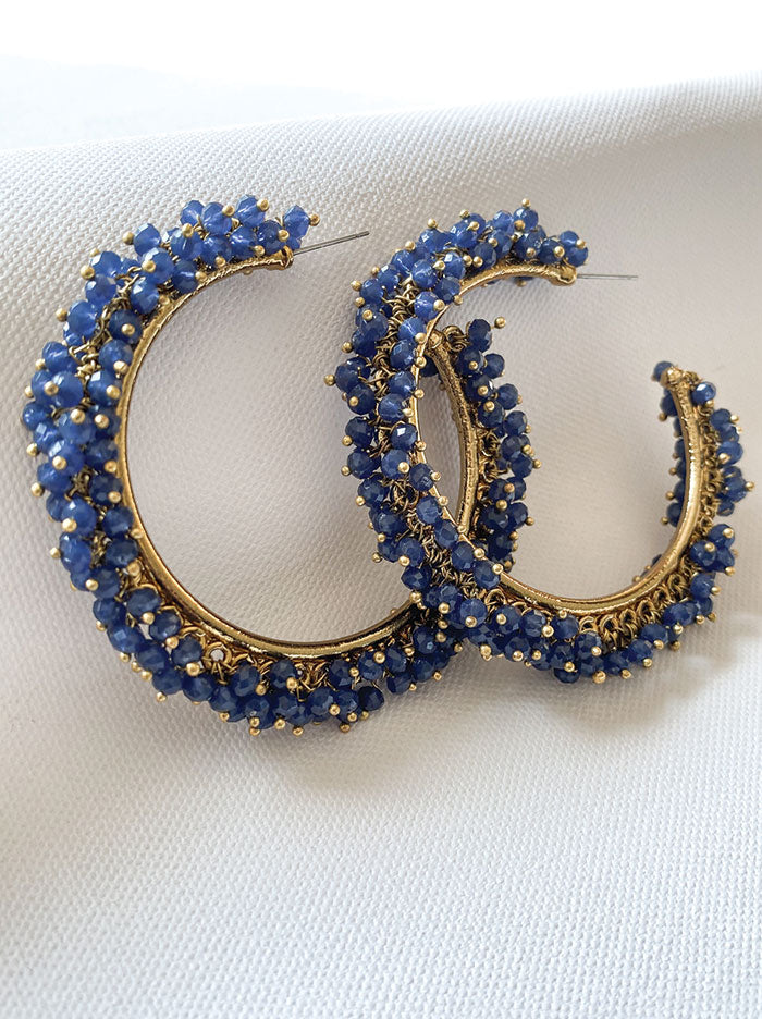 Navy beaded hoop earring - Tipsyfly
