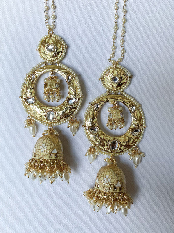 Gold & Ecru Statement jhumki drops - Tipsyfly