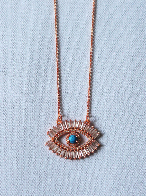 Rose crystal Evil eye Pendant