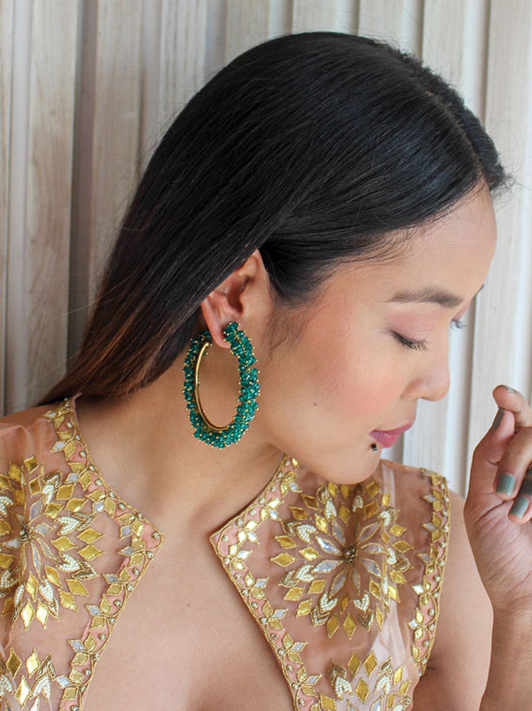 Emerald green beaded hoop earring - Tipsyfly