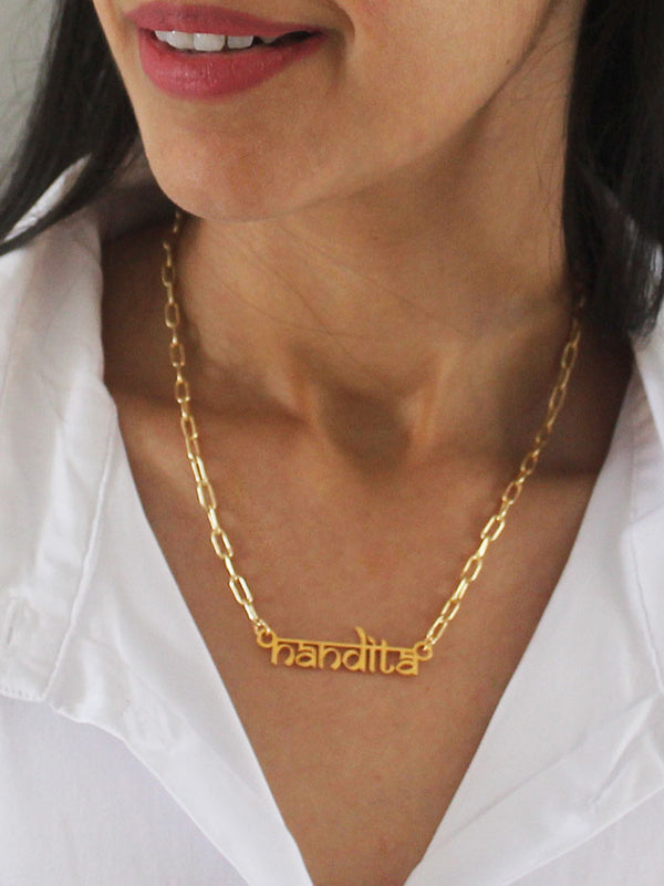 Customised Devangiri inspired name necklace - Tipsyfly