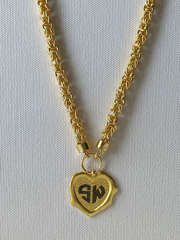 Gold Heart personalised wax seal necklace - Tipsyfly