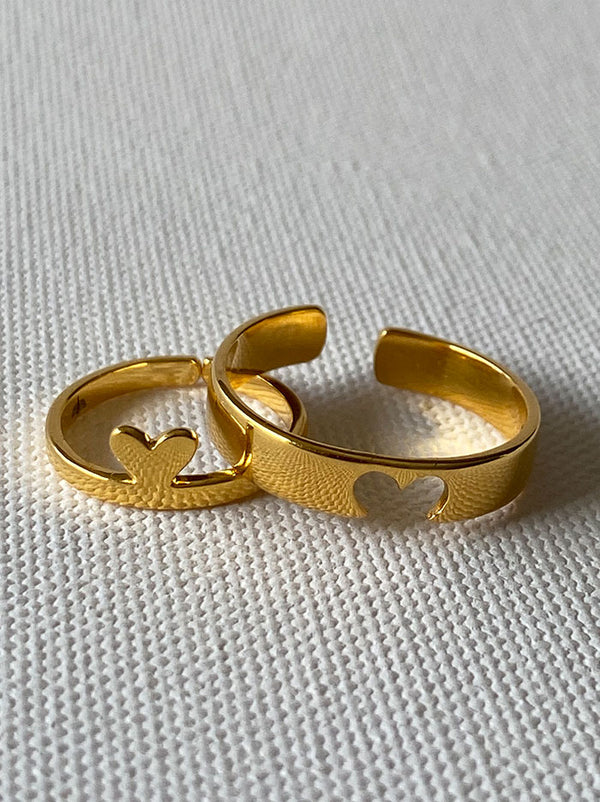 Gold Heart couple rings - Tipsyfly