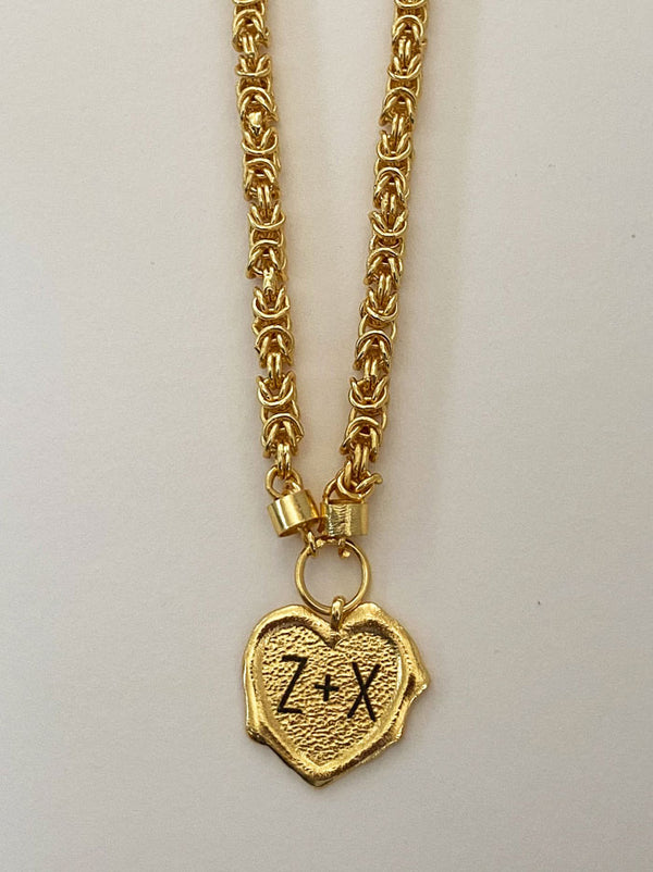 Heart initials gold wax seal necklace - Tipsyfly
