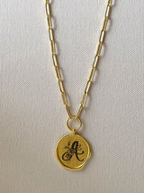 Gold round personalised wax seal necklace - Tipsyfly