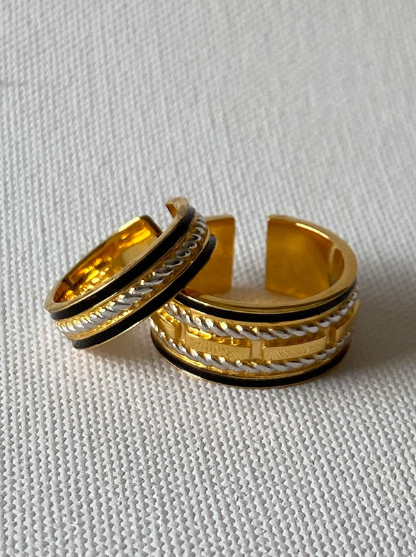 Black, Gold & Silver Openable couple rings - Tipsyfly