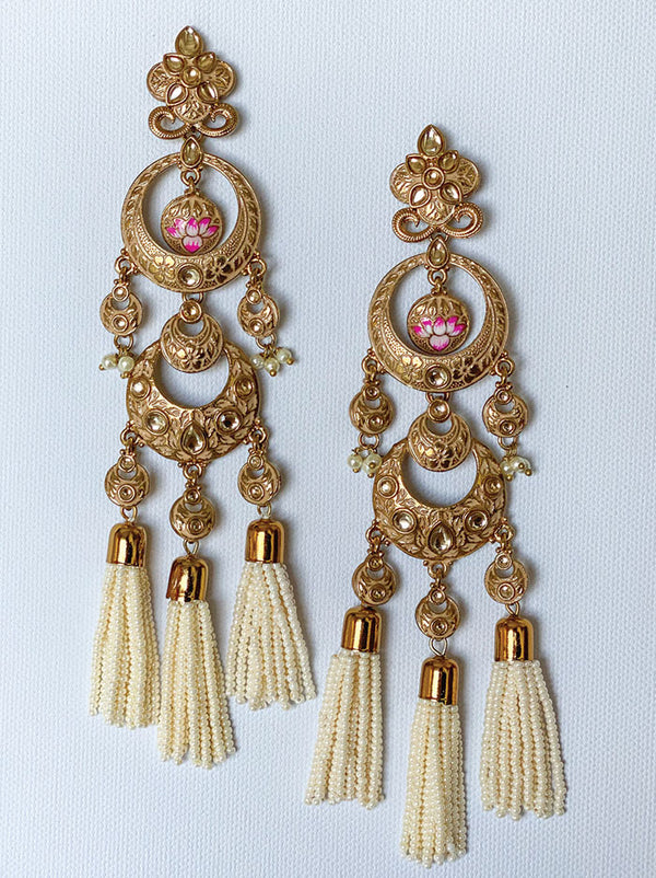 Lotus Tassel Chandelier Earrings - Tipsyfly
