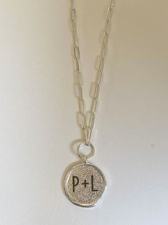 Love initials silver wax seal necklace - Tipsyfly