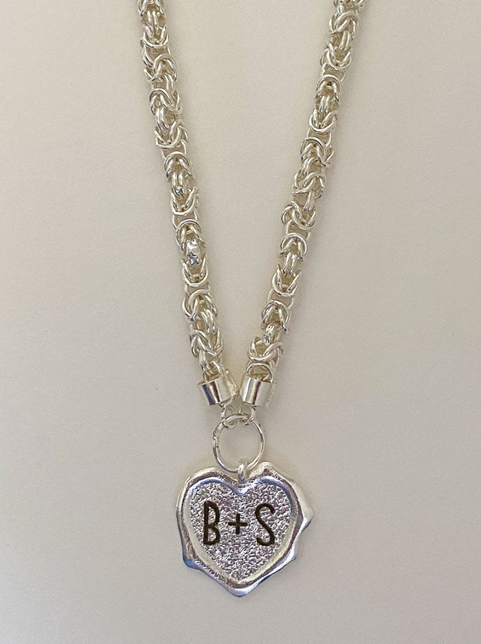 Heart initials silver wax seal necklace - Tipsyfly